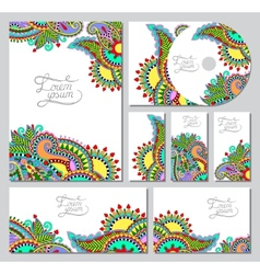 Set of floral decorative background cd design vector