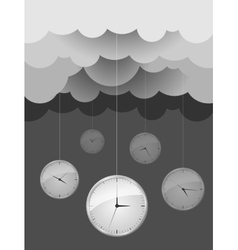Dark gray clouds and clocks design idea vector