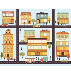 Set of buildings in the style small business flat vector