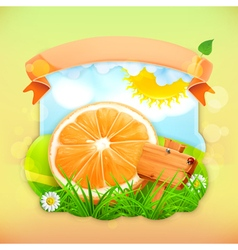 Fresh fruit label orange background for making vector
