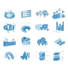 Set of business flat 3d design graph vector