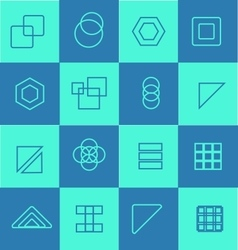 Geometric flat icon logo set vector