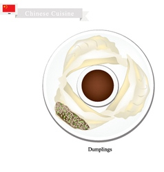 Jiaozi or chinese steam dumplings with soy sauce vector
