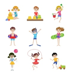 Kids On Summer Vacation Set vector image