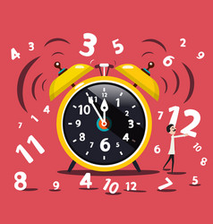 Alarm clock with numbers and man flat design vector