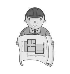 Architectz with technical drawing icon in vector