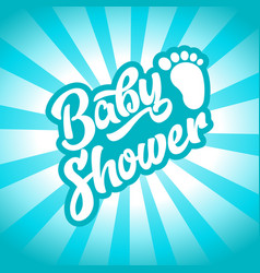 Blue baby foot baby shower invite greeting card vector