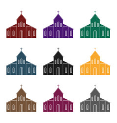 church icon in black style isolated on white vector image
