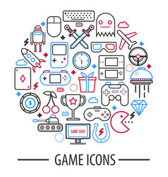 Computer game icons in round circle vector