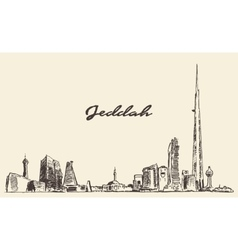 Concept jeddah skyline with kingdom tower drawn vector
