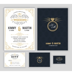 Creative wedding invitations with flourish design vector image