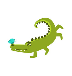 Crocodile playing with butterfly sitting on hos vector