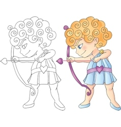 Cupid boy with bow and arrow aiming Valentine Day vector image