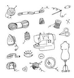 doodle knitting vector image