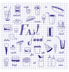 Fast food sketch vector