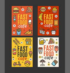 Fastfood and street food flyer banner posters card vector