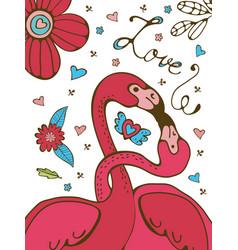 Flamingo couple kissing romantic poster vector