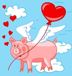 Flying pig in love vector