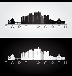 fort worth usa skyline and landmarks silhouette vector image