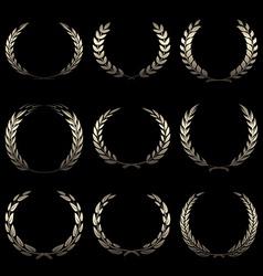 gold award wreaths laurel on black background vector image