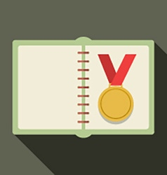 Golden medal in a book vector
