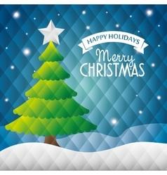 happy holidays merry christmas tree star snow vector image