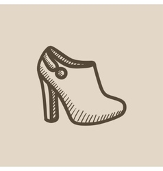 High-heeled ankle boot sketch icon vector image vector image