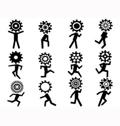 Human with gear head icons vector