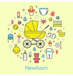 Newborn Baby Line Art Thin Icons Set vector image