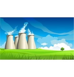 Nuclear plant station and lonely tree vector