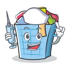 Nurse laundry basket character cartoon vector