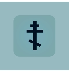 Pale blue orthodox cross icon vector