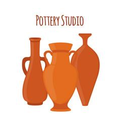 pottery studio label logo with vases amphoras vector image