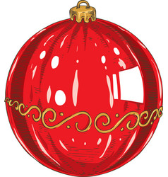 red christmas glass bauble vector image