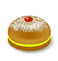 Red jelly donuts for hanukkah vector