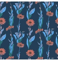 Seamless pattern with calendula flowers vector