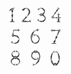 set of numbers for robot font vector image vector image