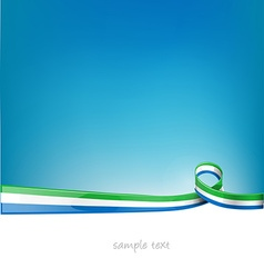 sierra leone ribbon flag on blue sky background vector image vector image