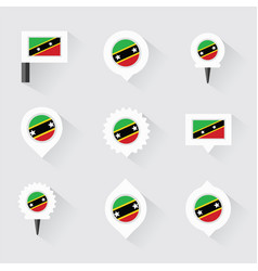 St kitts amp nevis flag and pins for vector