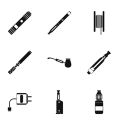 Tobacco icons set simple style vector
