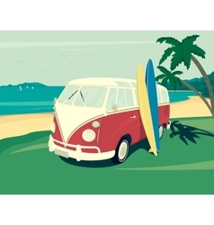 Van surf retro vector image