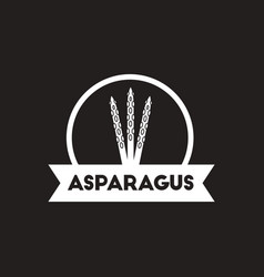 White icon on black background asparagus vector