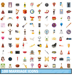 100 marriage icons set cartoon style vector