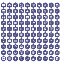 100 microscope icons hexagon purple vector image vector image