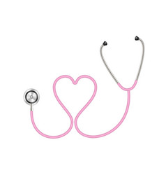 stethoscope in shape of heart in pink design vector image