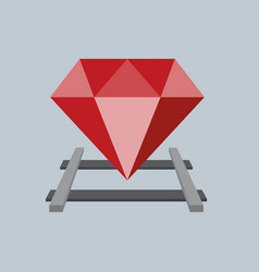 ruby on the railway flat design vector image