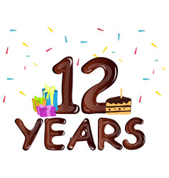 12th year anniversary celebration design with vector image