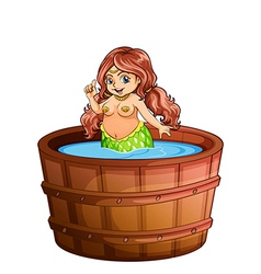 A fat mermaid taking a bath vector