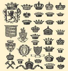 Coats of arms and crowns vector