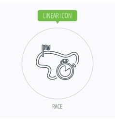 Race road icon finishing flag with timer sign vector